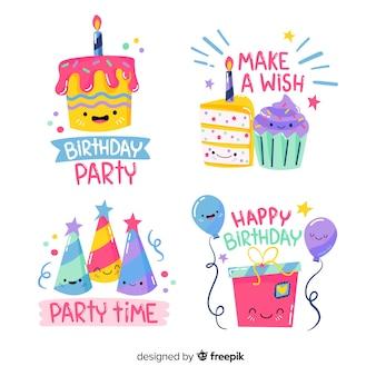 Etiquetas de cumpleaños adorables dibujadas a mano