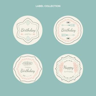 Etiquetas cumpleaños boho dibujadas a mano
