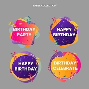 Etiquetas de cumpleaños de colores degradados