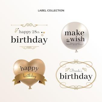 Etiquetas de cumpleaños doradas de lujo realista