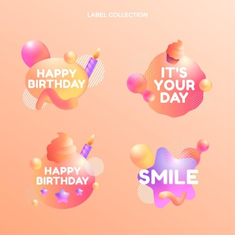 Etiquetas de cumpleaños fluido abstracto degradado