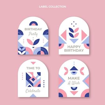 Etiquetas de cumpleaños de mosaico plano