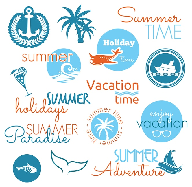 Etiquetas de diseño de verano vintage