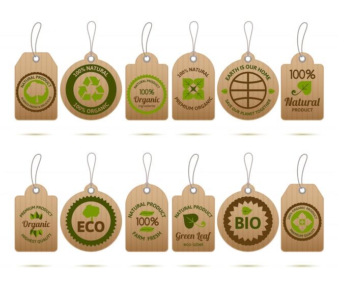 Etiquetas de ecología de cartón