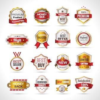 Etiquetas de lujo dorado y rojo