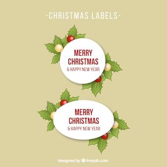 Etiquetas de navidad con hojas de acebo