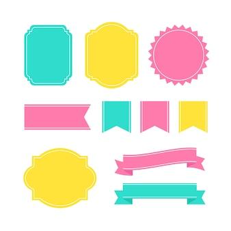 Etiquetas decorativas coloridas del marco