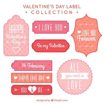 Etiquetas decorativas del día de san valentín con diferentes diseños