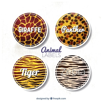 Etiquetas decorativas con fondo de diferentes animales