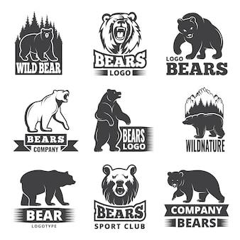 Etiquetas deportivas con ilustraciones de animales. fotos de osos para diseño de logo.