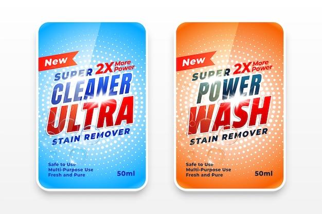 Etiquetas de detergente para ropa y ultra limpiadores