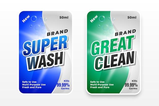 Etiquetas de detergente súper lavado y muy limpias