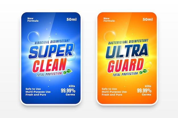 Etiquetas de detergente súper limpias