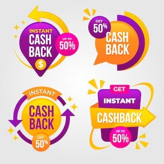 Etiquetas de devolución de dinero en colores vivos