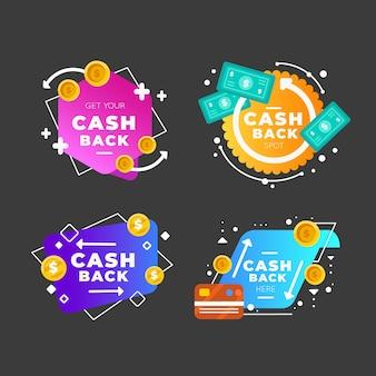 Etiquetas de devolución de dinero coloridas gradientes