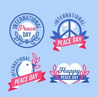 Etiquetas del día internacional de la paz plana