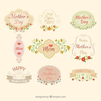 Etiquetas del día de la madre decoradas