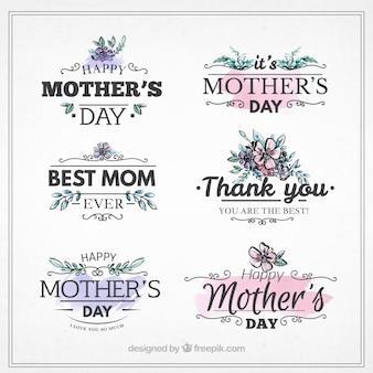 Etiquetas del día de la madre con detalles morados y rosas