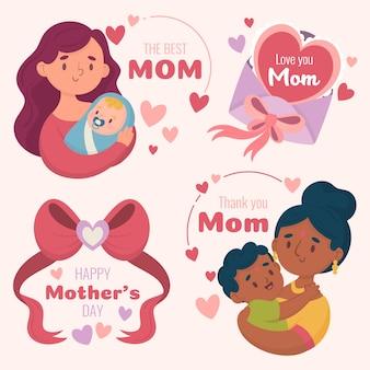 Etiquetas del día de la madre dibujadas a mano
