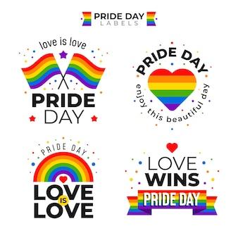 Etiquetas del día del orgullo con conjunto de bandera