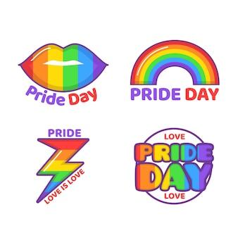Etiquetas del día del orgullo de las ilustraciones
