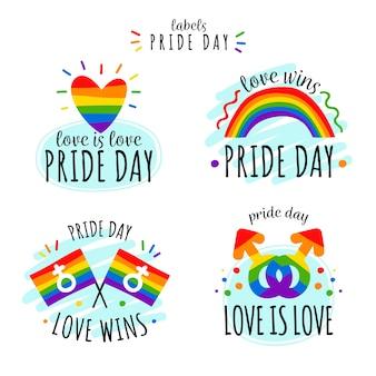 Etiquetas del día del orgullo con paquete de banderas