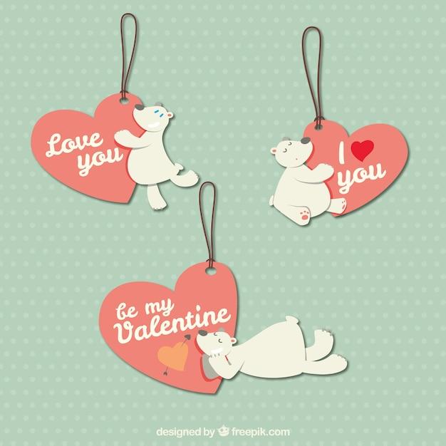 Etiquetas del día de san valentín con osos