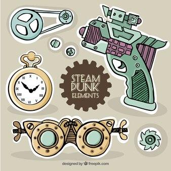 Etiquetas dibujados a mano en el estilo steampunk