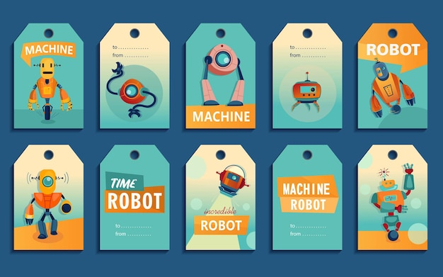 Etiquetas dibujos animados set robots