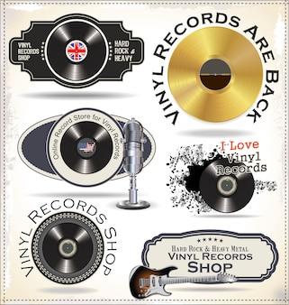 Etiquetas de discos de vinilo.