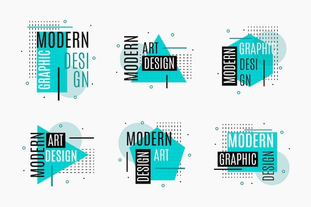Etiquetas de diseño gráfico azul geométrico
