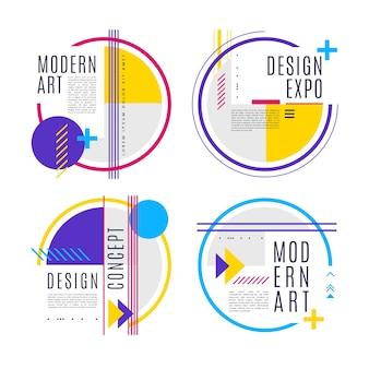 Etiquetas de diseño gráfico en diseño geométrico