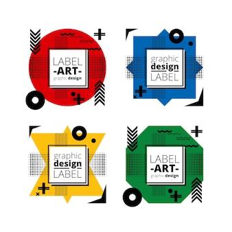 Etiquetas de diseño gráfico monocromático y blanco