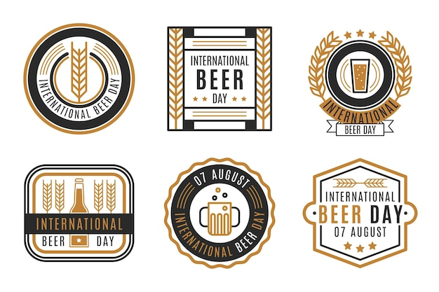 Etiquetas de diseño internacional del día internacional de la cerveza