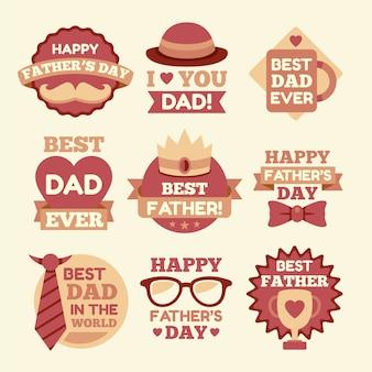 Etiquetas de diseño plano para el día del padre