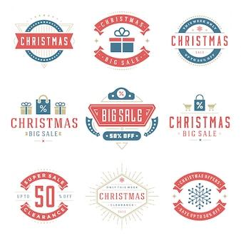 Etiquetas y distintivos de venta de navidad con conjunto de estilo vintage de decoración tipográfica de texto