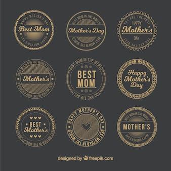 Etiquetas doradas redondas para el día de la madre