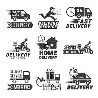 Etiquetas e íconos monocromáticos para servicio de entrega.