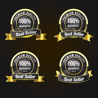 Etiquetas e insignias doradas de calidad