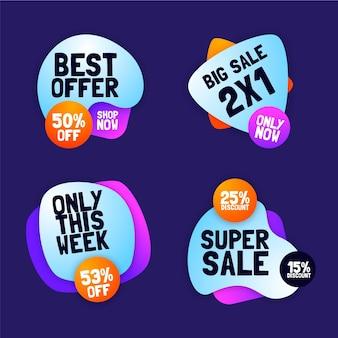 Etiquetas e insignias de ventas abstractas de degradado