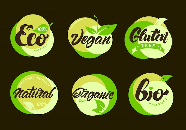 Etiquetas ecológicas con letras