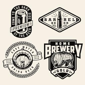 Etiquetas de elaboración de cerveza monocromáticas vintage