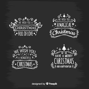 Etiquetas elegantes de navidad con estilo de pizarra