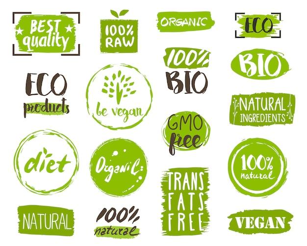 Etiquetas, elementos y logotipo de alimentos orgánicos.