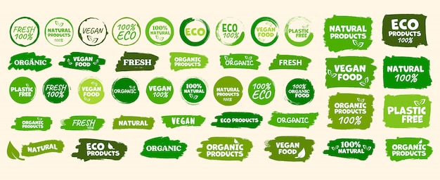 Etiquetas y emblemas de alimentos orgánicos, naturales, saludables, frescos y vegetarianos.