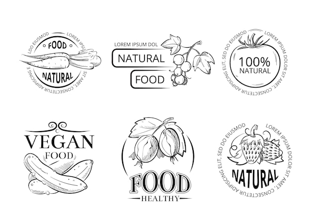 Etiquetas y emblemas de dibujo a mano vegetariana con comida vegana doodle.