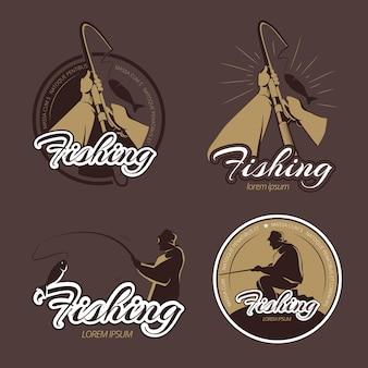 Etiquetas y emblemas de vector de club de pesca vintage. emblema de pesca, insignia retro de pesca, ilustración de río de pesca de pescador