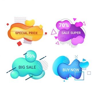 Etiquetas engomadas de la gran venta set oferta especial de compras insignias de descuento gradiente de color fluido banners abstractos con formas líquidas que fluyen