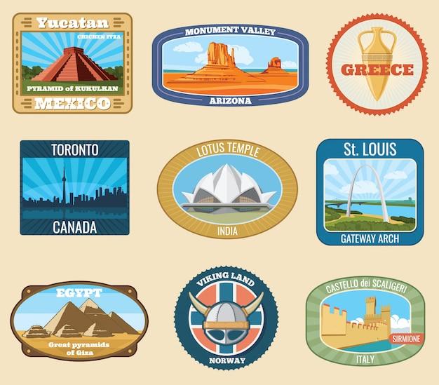 Etiquetas engomadas internacionales famosas del viaje del vintage del vector de las señales del mundo. famoso hito para el turismo y la ilustración del viaje.