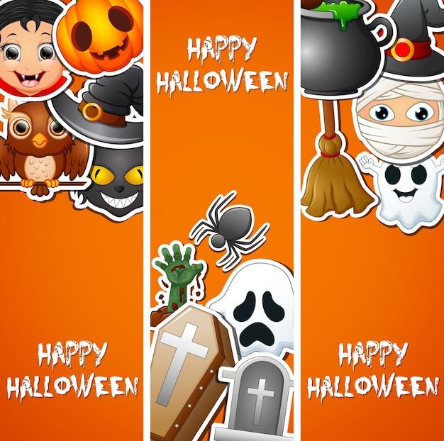 Etiquetas engomadas lindas del fondo feliz de halloween